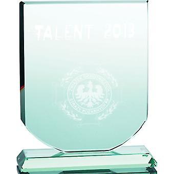 3D gegraveerde glazen trofee met koffer