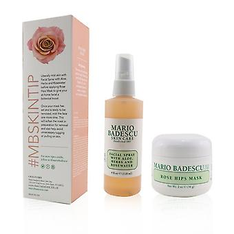 Mario Badescu Rose Mask & Mist Duo Set: Facial Spray With Aloe, Herbs And Rosewater 4oz + Rose Hips Mask 2oz 2pcs