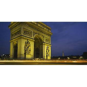 Pieni kulma näkymä muistomerkki Arc De Triomphe Paris Ranska Juliste Tulosta