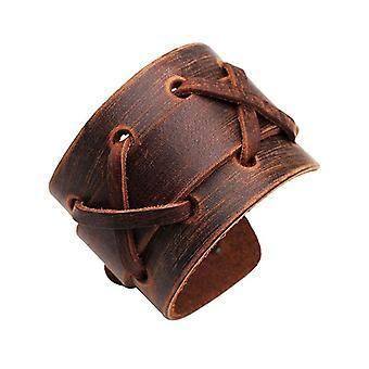 Punk Weaving Adjustable Men Bracelets Leather Wristband Cross Bangle Jewelry