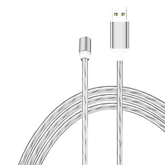 2 in 1 USB naar Type-C / USB-C + Micro USB Magnetic Absorption Kleurrijke Streamer Oplaadkabel, lengte: 2m (Kleurlicht)