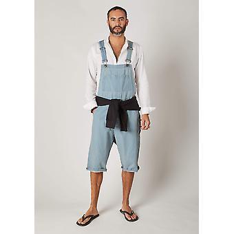 Chet mens dungaree shorts - palewash
