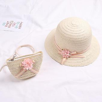Summer Baby Flower Breathable Hat With Handbag, Kids,, Sun Visor Uv Protection