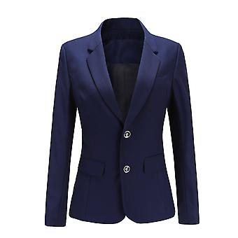 YANGFNA Women Solid Color Two Buckle Blazer Coat