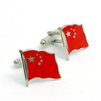 Chinese Flag Cufflinks by Onyx Art - Gift Boxed - China Cuff Links
