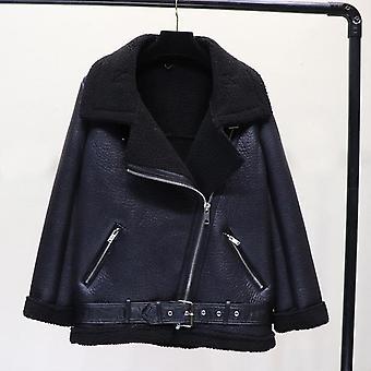 Téli faux bárány bőr kabát, gyapjú szőrme gallér, Pu Moto Cipzár kabátok meleg