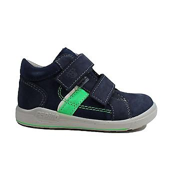 Ricosta Laif 2420100-171 Navy Nubuck Leather Boys Rip Tape Ankle Boots