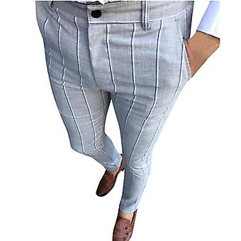 Mens Chinos Slim Fit Skinny Pants, Trousers Plaid Design With Stripe, Casual