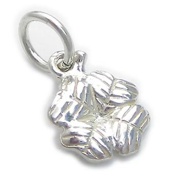 Tiny 4 Leaf Clover Sterling Silver Charm .925 X 1 Klaverblad Charms - 4656