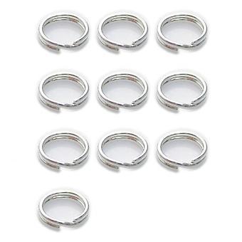 10 X 6mm Split Ringen Sterling Zilver .925 Charm Sleutelhangers Ringen - 6011