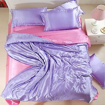 Solid Color, Satin Silk  Luxury Cool Bedding Set For Summer With Duvet Cover,