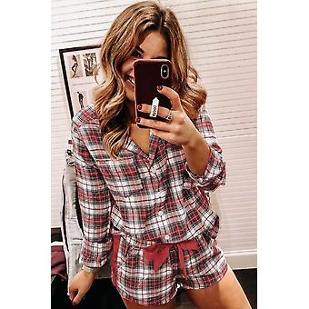 Classic Red Plaid Long Sleeve Button Down Christmas Short Pajama Set