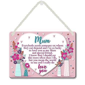 WPL Heart Warmers Mum Hanging Sentimental Tin Plaque