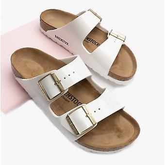 Birkenstock Arizona 1005294 (nar) damer Birko-Flor två rem sandaler patent White