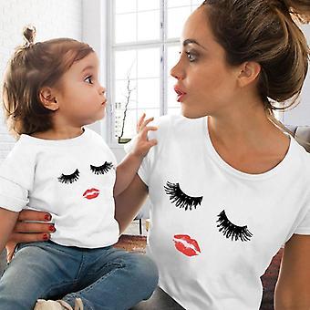T-shirt rouge d'impression de lèvres femmes et enfants, T-shirt de famille