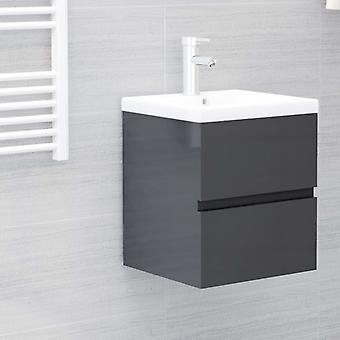 vidaXL Waschbeckenunterschrank Hochglanz-Grau 41x38,5x45 cm Spanplatte
