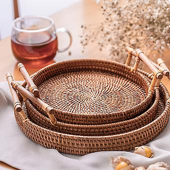 Rattan Handwoven Round Severing Tray Food Storage Platters Plate For Breakfast Drink Snack