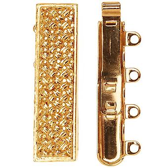 Filigree Box Clasps, 4 Strand Rectangle with Crosshatch Design 10x25mm, 1 Piece, 23K Gold Plated