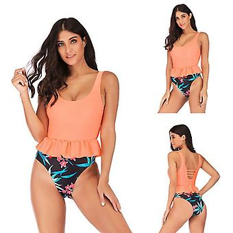 Maiô feminino grande uma peça feminina babado multi cor slim swimwear