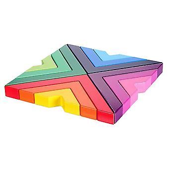 Drewniana rainbow układania gry Rainbow Nesting Puzzle Bloki Rainbow Układanie gry (kolory tęczy)