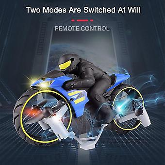 Motocicleta 2in1 Tierra y Aire Modo Dual Recargable Stunt Flip Toy With Cool LED Light RC Motor Toys