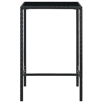 vidaXL Tuintafel Zwart 70x70x110 cm Poly Rotan en Glas