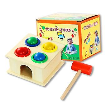 Kids edational toys hammer and 4-ball wooden play set, wooden hammer balls pounding toy az6493