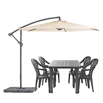 Olot 4 Plazas Jardín Comedor Set con Parasol Patio Mesa &Sillas Verde/Crema