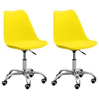 vidaXL toimistotuolit 2 kpl. keltainen nahka