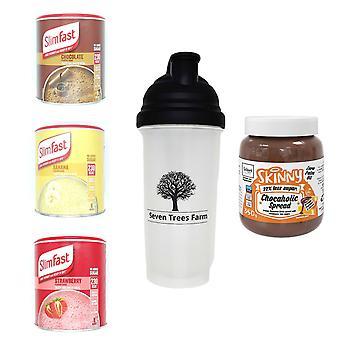 Seven Trees Farm Kit con 5 productos | 1 x Choco, 1 x Banana, 1 x Strawberry Shakes, 1 x Shaker y 1 x Orange Flavor Chocolate Spread, ¡Sé flaco y saludable!