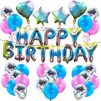 37 Stück Farbverlauf Ballon Dekoration Set Gradient Happy Birthday Banner Geburtstag Party Lieferant