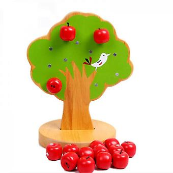 Wooden Apple Tree Toy- Educational Apple And Number Matching Toy Montessori Math Toy For Kids Learning Numbers