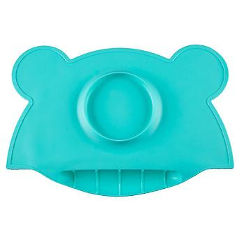 Portable baby insulated silicone dinner plate, waterproof placemat with bowl(Green)