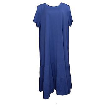 LOGO By Lori Goldstein Plus Dress Cotton Modal Tiered Blue A378828