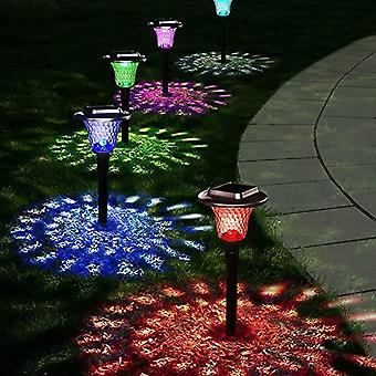 Solar Lights Outdoor, 4 Pack Auto Changing Solar Pathway Colorful Bright Glass Garden Lights,waterproof Solar Powered Landscape Lights For Lawn Patio