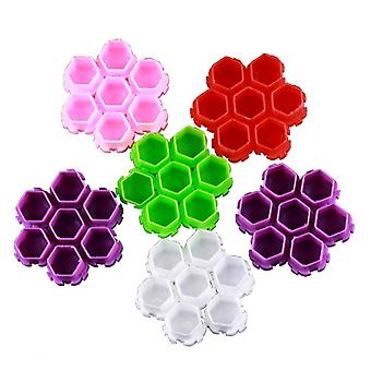 200pcs Spliceable Honeycomb Color Cup Ink Cup Paint Cup Pigment Cups Plastic Ink Cup For Painting Use (mixed Color)