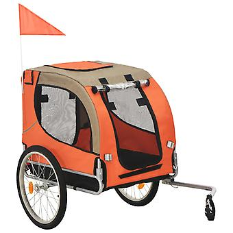 Koirankuljetuskärry polkupyörään oranssi ja ruskea