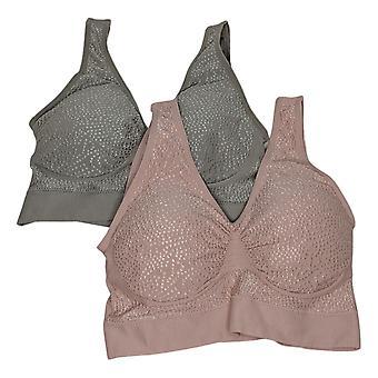 Rhonda Shear SzM 2-pack Jacquard Dot Seamless Leisure Pink Bra Set 758369