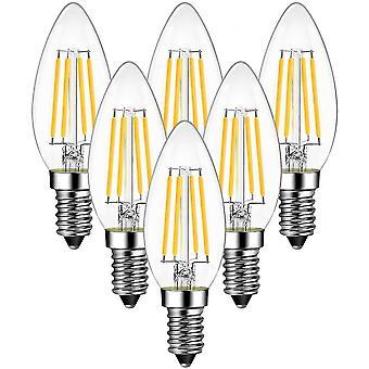 Hywell 4w Bulb Filament Candle Led E14, 470lumen Equivalent To Halogen Bulb 40w, Warm White 2700k, Non-adjustabl