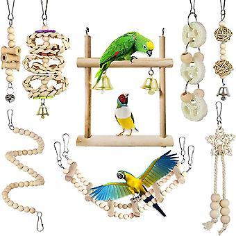 Set Of 8 Wooden Bird Toys, Colorful Chew Toys, Parrot Molar Chain, Natural Wood Swing, Animal Chew Toy For Parakeets, Cockatiels, Parakeets And Birds