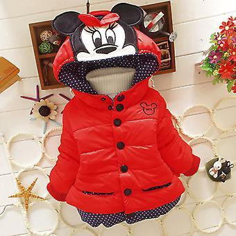 Kinder Mädchen Minnie Maus Kapuze Fleece gefüttert Mantel Jacke Warme Oberbekleidung