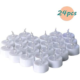 Flameless Led Tealight Candles - With Cr2032 Batteries - Flickering Effect - Warm White24pcs