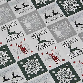 Christmas Stickers - Snowflake and Reindeer in White Green x 35 Xmas