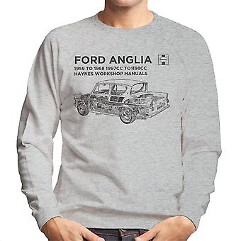 Haynes Workshop Manual 0001 Ford Anglia Black Men's Sweatshirt
