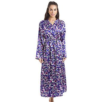 Camille Purple With Pink & Silver Floral Print Luxury Satin Dressing Gown