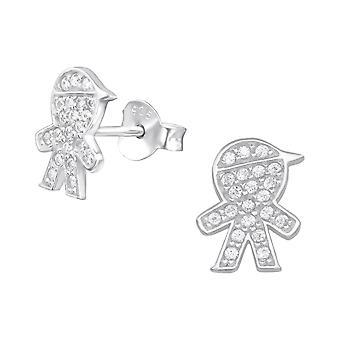 Boy - 925 Sterling Silver Cubic Zirconia Ear Studs - W32059X