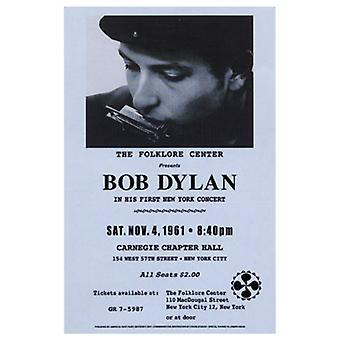 Bob Dylan Carnegie Hall 1961 affisch Skriv (15 x 23)