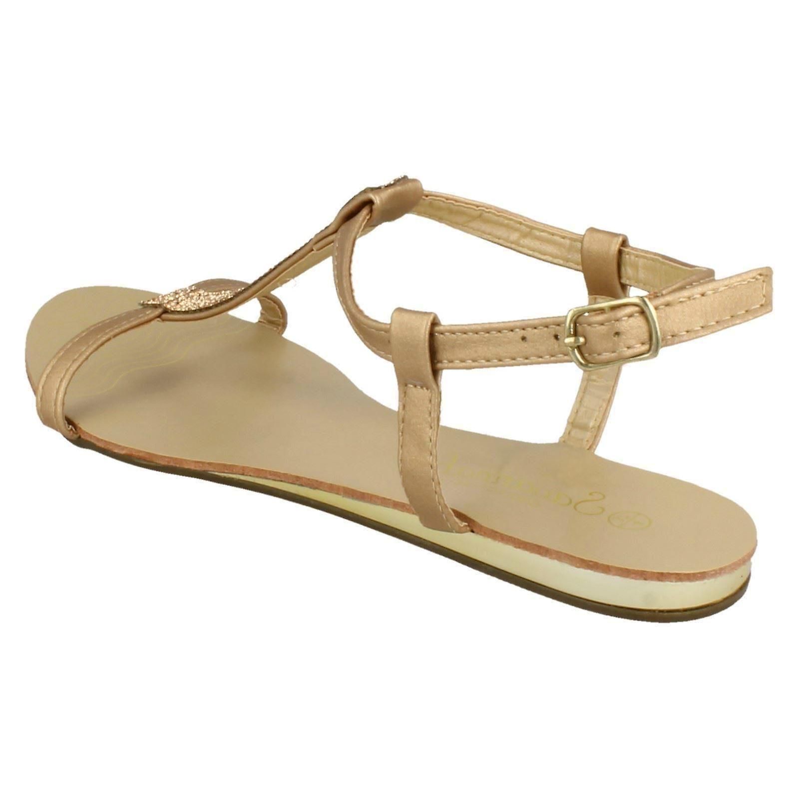 Panie Savannah Flat T Bar Diamante wykończenia codzienne sandały F0818
