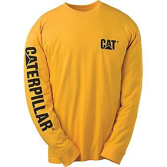 Caterpillar Mens marque Logo coton T Shirt jaune