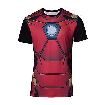 Marvel Comics Iron Man Mens Suit Sublimation T-Shirt Small Multicolour